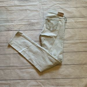 Hollister Distressed Lace patched straight leg jea